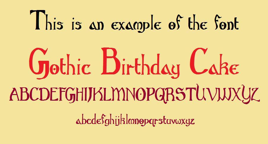Gothic Birthday Cake font